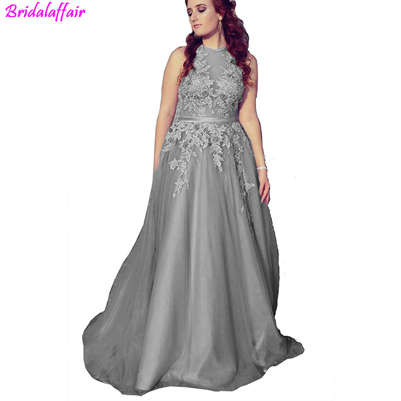 Gray Sexy Sleeveless Tulle A Line Long   Prom     Dresses   2019 Halter Lace Up Appliques Floor Length   Prom     Dress   Dubai Robe de soiree