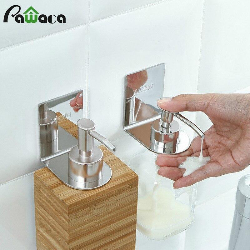 Shower Bottle Rack Hook Stainless Steel Wall Mounted Soap Dispenser Bottle Holder Hook Liquid Shampoo Hand Soap Hanging Hanger