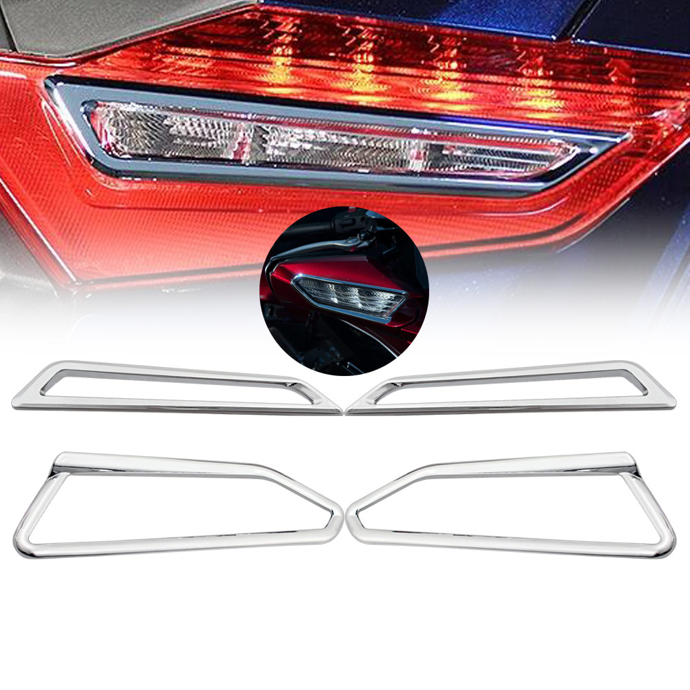 Chrome  Mirror Surround Trim Front Rear Turn Signal Decorative Cover For Honda 2018-UP Gold Wing GL1800