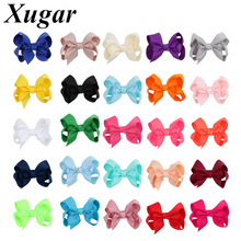 25Pcs/lot Handmade Kids Hair Bows with Ribbon Covered Hairpins Solid Boutique Bowknot Clips Childen Accessories