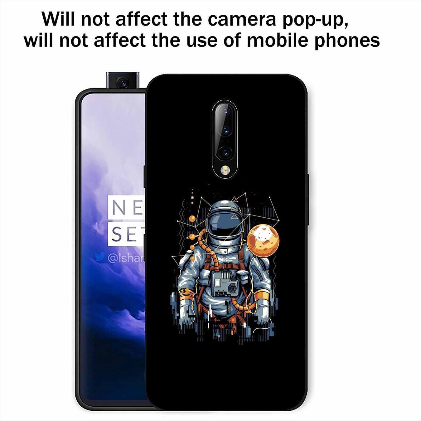 Uzay Siyah Uzay Astronot Ay Yumuşak TPU Siyah Silikon telefon kılıfı OnePlus 7 Pro 6 6T 5 5T bir Artı 7Pro Kapak