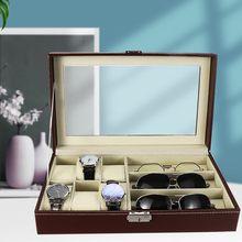 Nowy 9 siatki zegarek box skórzane szklane pudełko etui na okulary schowek organizator Box luksusowy wyświetlacz biżuterii Multifunctio Box Watch czarny tanie tanio Charminer CN (pochodzenie) Pudełka do zegarków 33*20*7 9CM 9 (6 watches+3 glasses)
