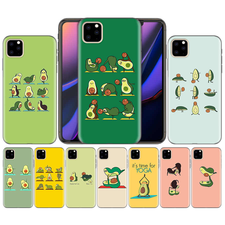 Bonito abacate yoga dos desenhos animados silicone capa para o iphone xr xs max x 7 8 6s plus 11 11pro max 5 5S 5c se 7 + 8 + 6s +