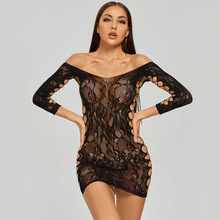 Black Pantyhose Perforate Tights Fishnet Sexy Lingerie Transparent Sleepwear Toy Babydoll-Dress