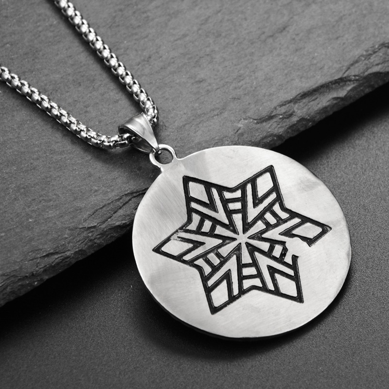 Купить с кэшбэком Hip-Hop Street Simple Personality Six Mang Star Round Disk Pendant Necklace Titanium Steel Necklace Hanging Ornaments for Men
