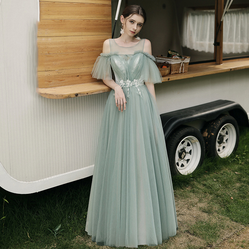 <font><b>Bridesmaid</b></font> <font><b>Dress</b></font> Water Green Embroidery Appliques Wedding Party Gowns Boat Neck Spaghetti Straps Long <font><b>Sexy</b></font> Women Vestidos R038 image