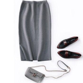 Fashion autumn and winter skirt female explosion models knit fishtail skirt solid color slim bag hip skirt elastic skirt female