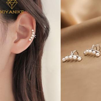 XIYANIKE-pendientes de plata de primera ley para mujer, aretes pequeños, plata esterlina 925, varios perla, temperamento Simple, sin perforaciones, moda para orejas