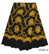 African Tulle Lace Fabric High Quality African French Stones Lace Fabric Nigerian Embroidery Tulle French Lace For Party 1F245
