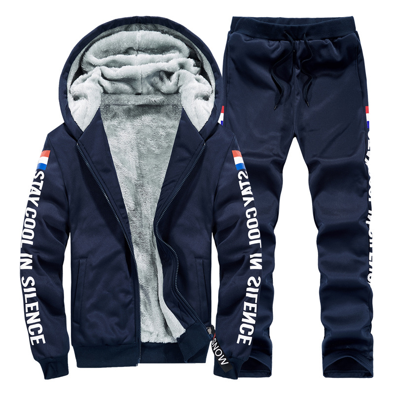 Men Sets Thick Warm Winter New Casual Tracksuit Jackets+Pants 2PCS Male Hooded Sweatshirts Zipper Cardigan Fleece Mens Set 2019
