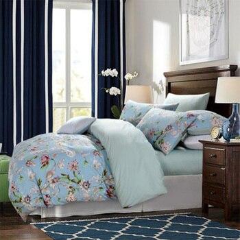 4 PCS Long-Staple Cotton Bedding Set Pastoral Flowers Plants Pattern Family Bedding Sets Quilt Cover Pillowcase Sheets Sets