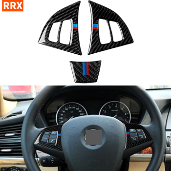 For BMW X5 E70 2008-2013 Carbon Fiber Steering Wheel Panel Switch Button Frame Cover Trim Stickers Auto Tuning Car Accessories image