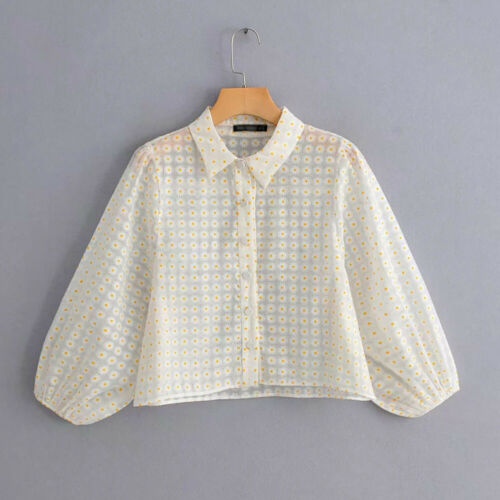 UK Fashion Women Sheer Casual Puff Sleeve Blouse Slim Club Tops Polyester Long Sleeve White Dot Casual Fashion Holiday Summer