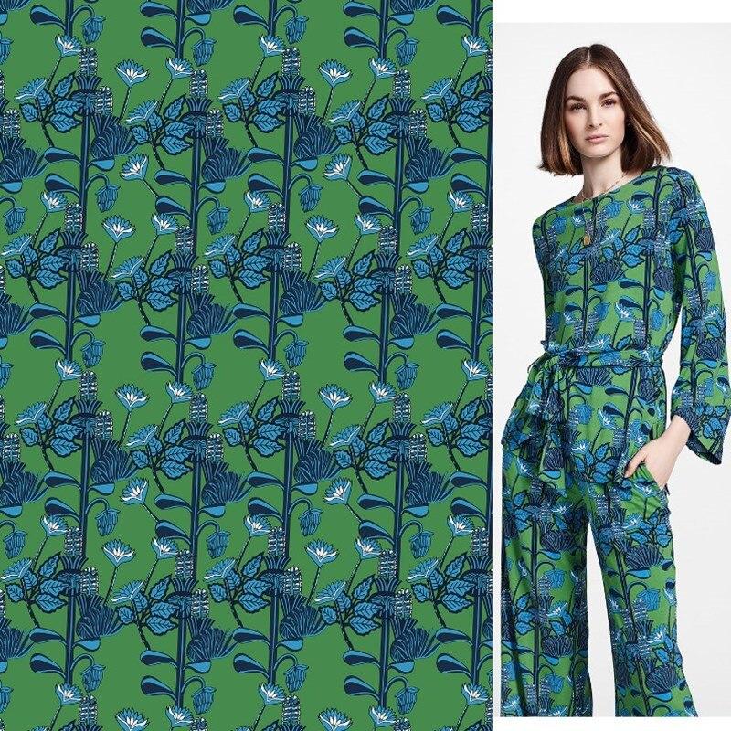 Tissu imprimé numérique imitation coton, printemps et été, tissu imprimé, plante verte, chemise, pantalon, haute couture, mode