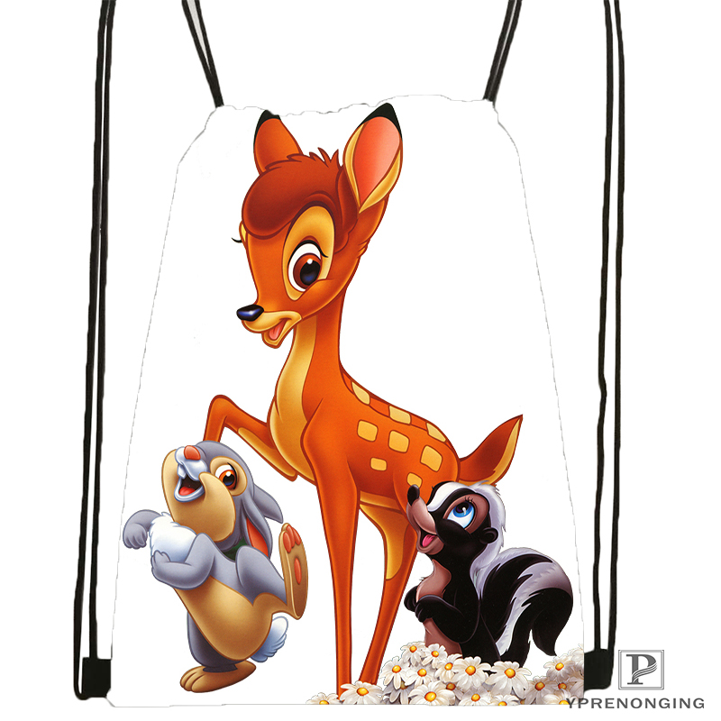 Custom Kid Bambi  Drawstring Backpack Bag Cute Daypack Kids Satchel (Black Back) 31x40cm#180531-02-47