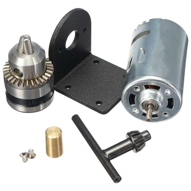New Dc 12-36V Lathe Press 555 Motor With Miniature Hand Drill Chuck And Mounting Bracket Dc Motor