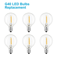 LED G40 Replacement Bulbs E12 Screw Base Globe Light for Patio String Lights Equivalent to 5-Watt Clear