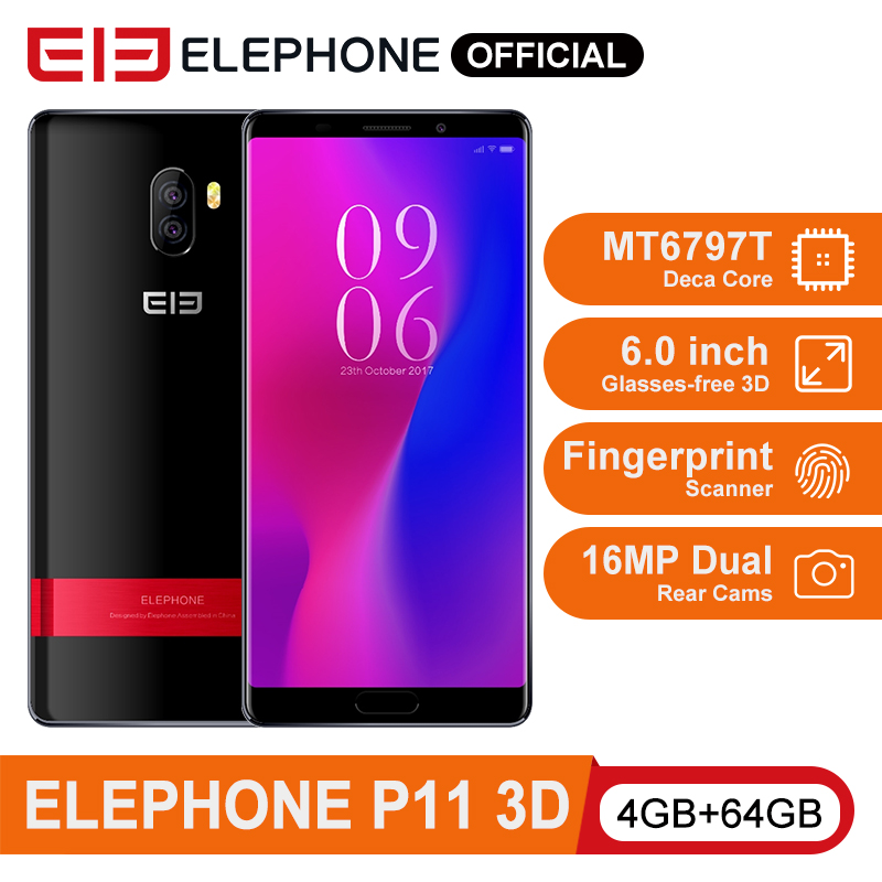 ELEPHONE P11 3D MT6797T Deca Core Mobile Phone 4GB 64GB 6.0 Inch FHD+ Screen Android 8.0 16MP Dual Rear Cam 3200mAh Smartphone image