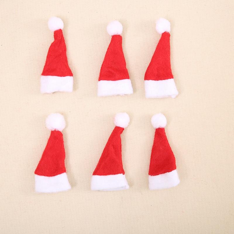 New 4*7cm Mini Christmas Hat Christmas Lollipop Hat Non-woven Hat Christmas Tree Decoration Wine Bottle Cap Decoration Cheap