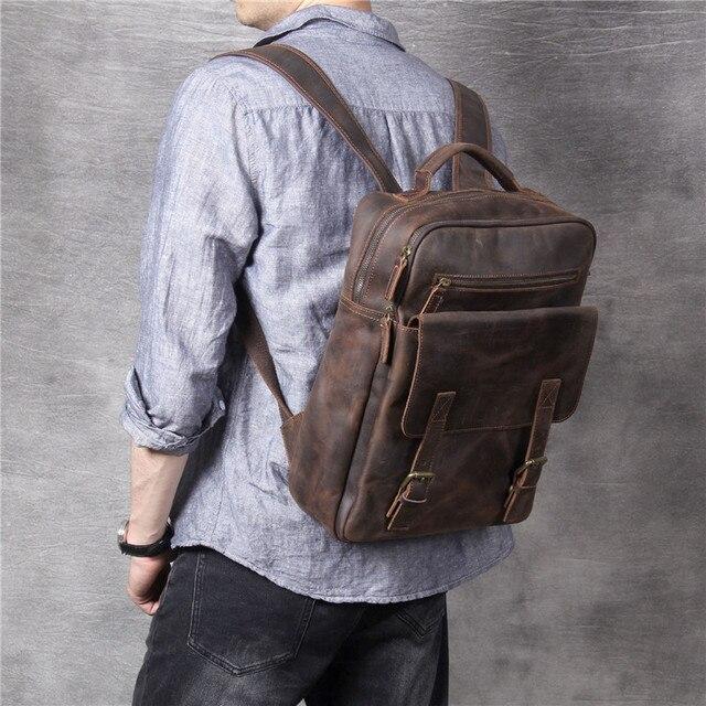 Фото винтажный рюкзак из воловьей кожи crazy horse для мужчин и женщин