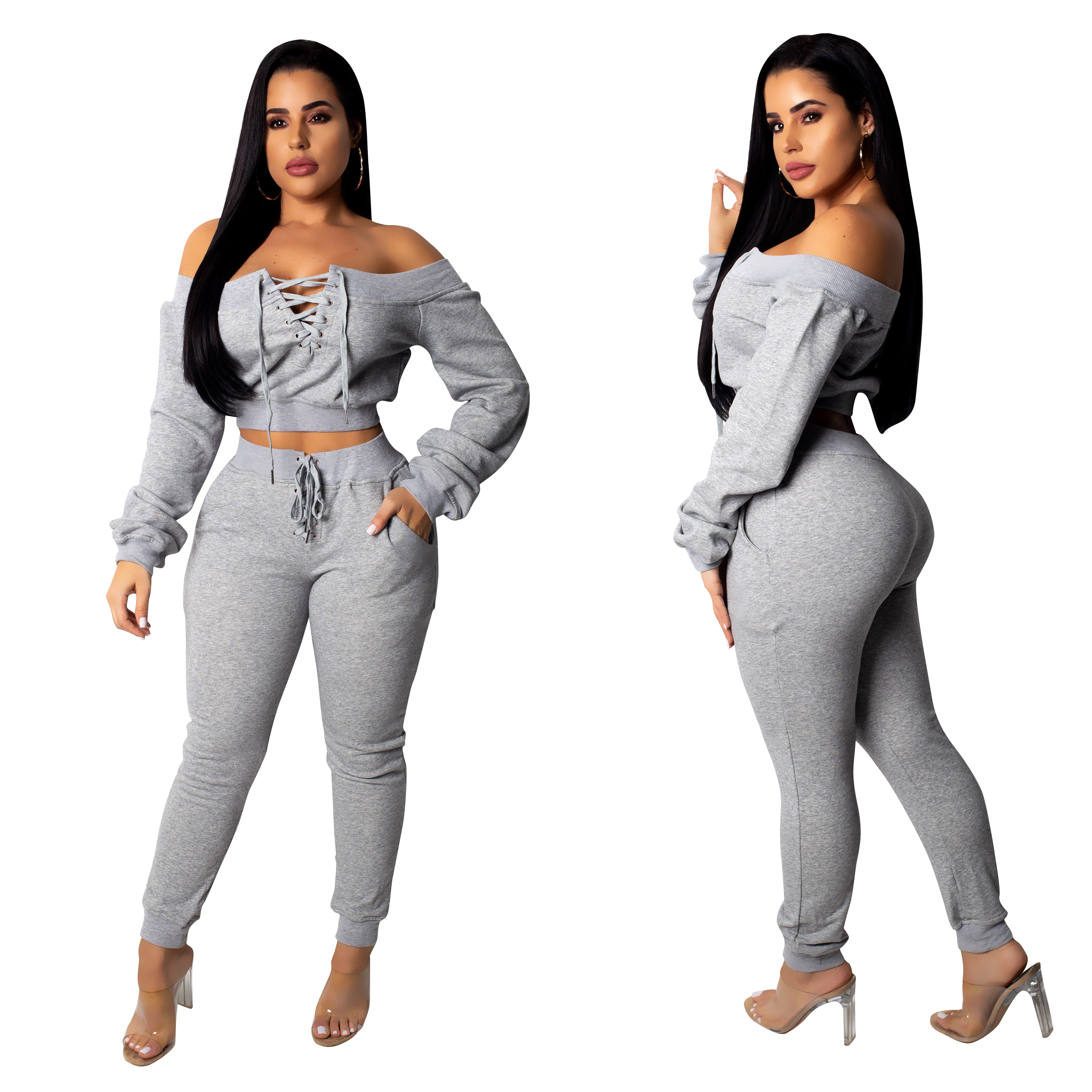 Echoine Women Two Piece Sets Multi-color sweater pull-eyes fashion casual suit sexy bandage crop tops + long pants autumn winter