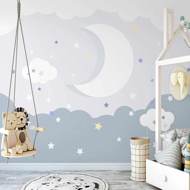 Photo Wallpaper Nordic Simple Hand Painted 3D Moon Starry Sky Mural Children's Bedroom Background Wall Decor Papel De Parede 3 D
