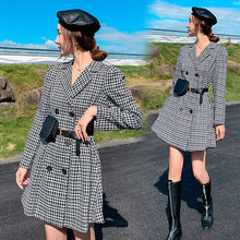 2019 Autumn New Style Retro Plaid Dress Small Suit Collar Double Breasted Waist Hugging Slimming Female Send pi yao bao(China)