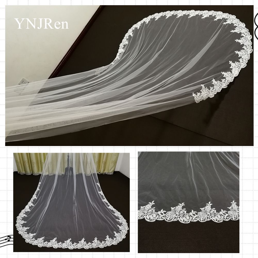 Real Photos Ivory Cathedral Wedding Veils Lace Edge Bridal Veil with Comb Wedding Accessories Bride Mantilla Wedding Veil