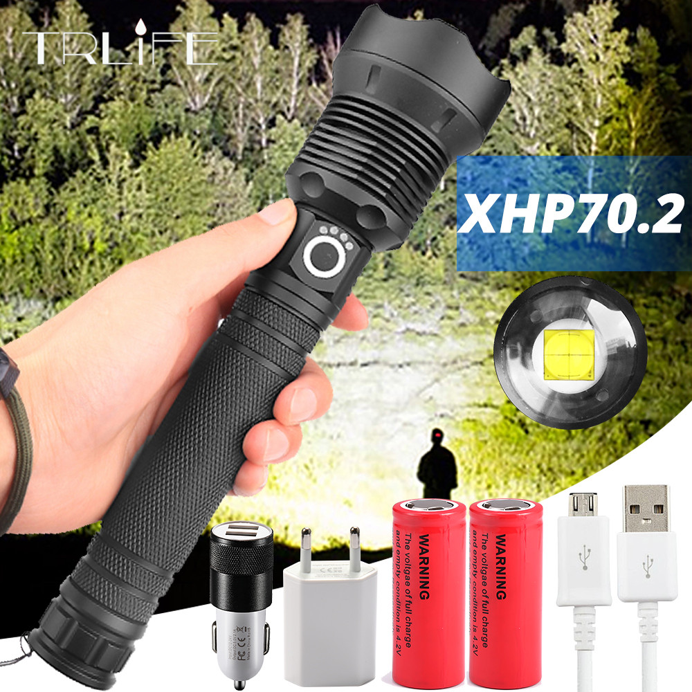 120000 Lumens XLamp XHP70.2 Most Powerful LED Flashlight USB Zoom Torch XHP70 XHP50 18650 26650 Rechargeable Battery Flashlight