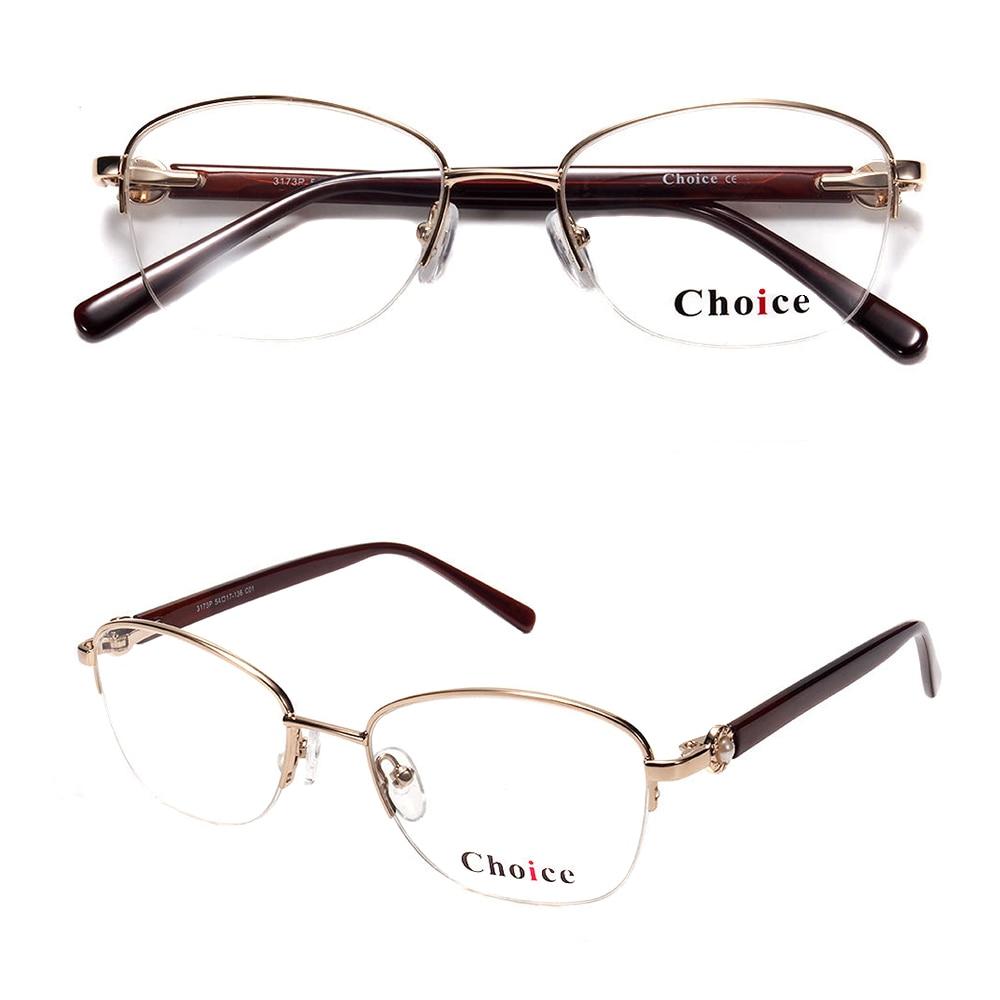 Ladies Gold Stainless Metal Half-rim Eyewear New Model Optical Frames Glasses