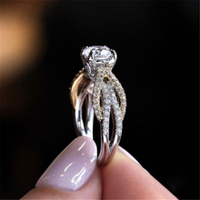 14K Gold Princess Engagement Diamond Ring for Females Luxury Anillos Wedding Bizuteria Gemstone Round Topaz Jewelry Rings