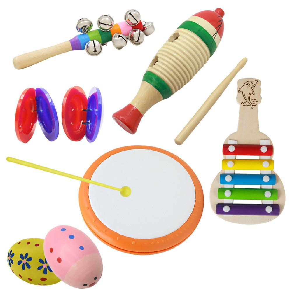 6pcs Orff Wooden Tambourine Educational Musical Instrument With Hand Drum+Fish Frog+Wooden Guitar+Tambourine+Sand Egg+Castanet