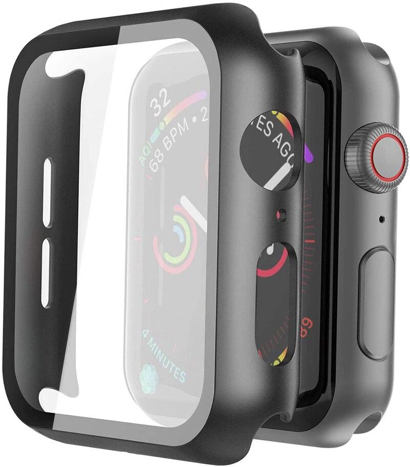 Чехол + закаленное стекло для Apple Watch 40 мм 44 мм Series 5 4, защита экрана, чехол-бампер для iwatch Series 3 2 1 38 мм 42 мм