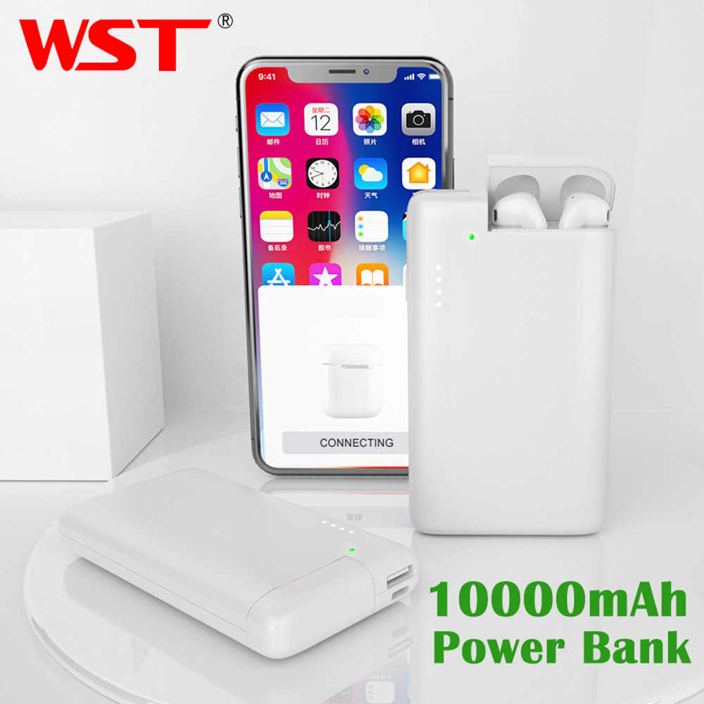 Wst 10000 mah power bank para airpods portátil carregador de bateria externa powerbank usb sem fio power bank para xiaomi iphone