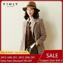 Vimly Winter Wollen Jas Voor Vrouwen Vintage Notched Double Breasted Solid Thicken Warme Jas Elegante Vrouwelijke Blazers F5380