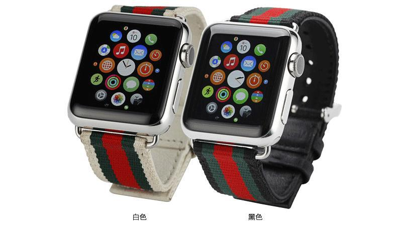 Applicable APPLE Iwatch4 S 3/2 Watch Band Casual Apple Watch Sports Canvas Nylon Breathable Genuine Leather