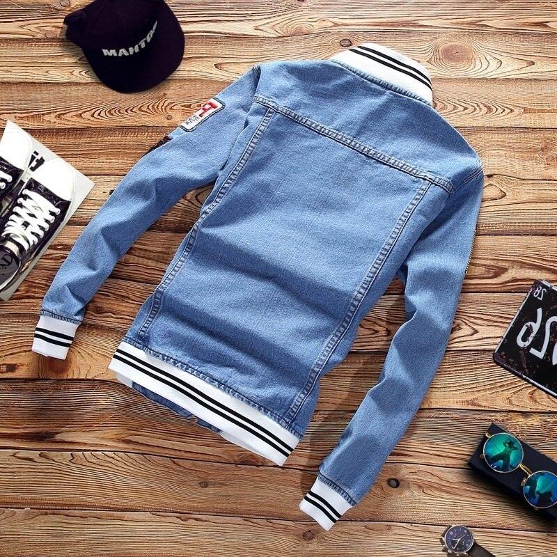 Весенняя трендовая Повседневная Свободная куртка, мужские джинсовые куртки, Приталенная модель 2019, новая мужская модная крутая куртка с во... - 2