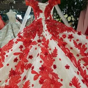 Image 5 - LS09849 đỏ 3D Hoa Dạ Hội Dài Cổ Chữ V voan nữ tay ôm vai sáng bóng dạ hội với Đoàn tàu 100% đẹp như hình ảnh