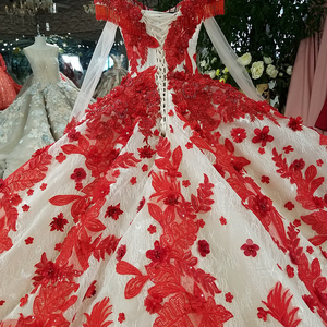 Image 5 - LS09849 red 3d flowers evening dress v neck long tulle sleeve off shoulder shiny evening gown with train 100% real as photos