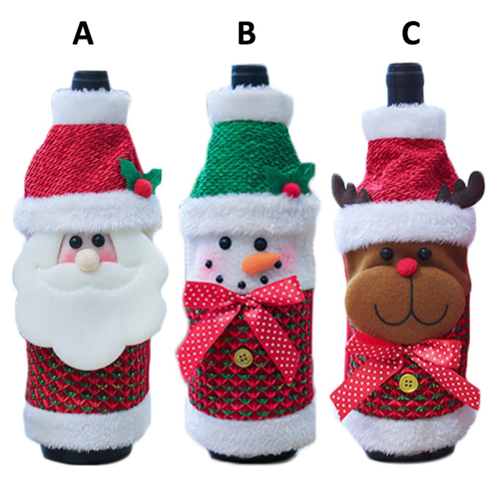 Nordic Christmas Wine Bottle Cover Sweater Santa Claus Snowman Elk Bottle Cover With Hat For Party Bottle Decor New Year Gifts(China)