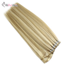 "Hiart 15 G/stk Hand Gebonden Inslag Hair Extensions In Human Virgin Hair Factory Double Drawn Inslag Extension 6 Pc Handtied inslag 18 ""-22""(China)"