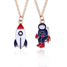 N165 New Exquisite Creative Astronaut Necklace Cute Cartoon Modeling Spaceship Pendant Necklace Women Clavicle Chain Wholesale(China)