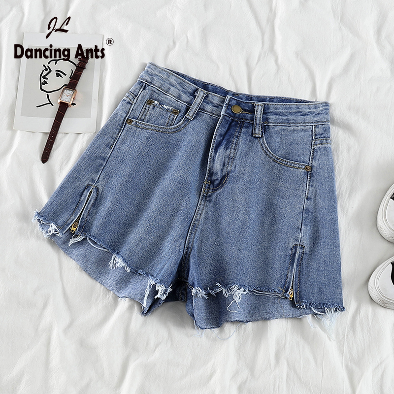 Woman Jeans Short High Waist Loose Wide-leg Shorts Korean Style Vintage Solid Ripped Split Chic Female Denim Shorts 2020 Fashion