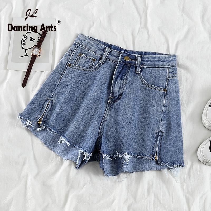 Woman Jeans Short High Waist Loose Wide-leg Shorts Korean Style Vintage Solid Ripped Split Chic Female Denim Shorts 2020 Fashion
