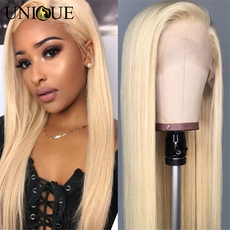613 Lace Front Wig 150% Density with Baby Hair Unqieu Hair 613 Frontal Wig Brazilian Straight Wig 613 Blonde Human Hair Wig image