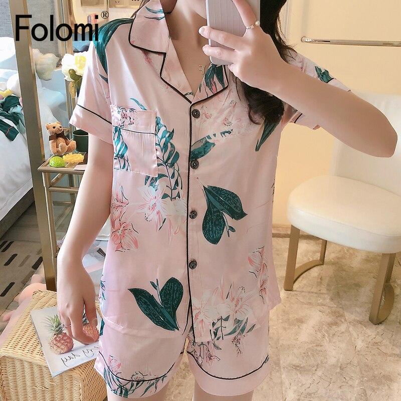 2020 New Printing Short Sleeve Silk Pajamas Set Two Pieces Set Women Sleepwear Cute Nightwear for Women Sleeping set 3