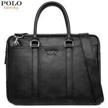 VICUNA POLO модная мягкая кожаная мужская сумка на плечо большой емкости для ноутбука Портфель Сумка для мужчин сумка с длинным ремешком