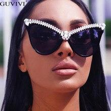 Übergroßen Diamant Sonnenbrille Frauen Strass Cat Eye Sonnenbrille Männer 2020 Luxus Marke Brillen Retro Brille Vintage UV400