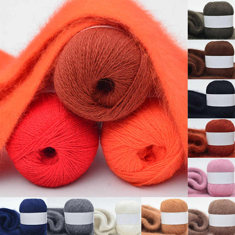 50g de alta qualidade cashmere longo de pelúcia vison fio de lã para tecelagem suéter chapéu cachecol anti-pilling fio para tricô de mão