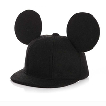 2019 New Cartoon Cute Winter Big Ears Snapback Hats Girls Hat Hip Hop Baseball Caps Female 100% Real Wool Hat For Women